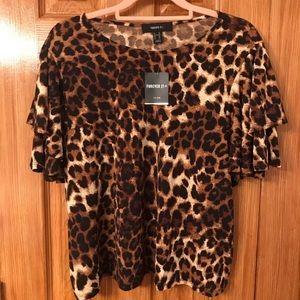 Forever 21 Plus Cheetah Print Top